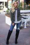 EVERLY Hot Shot Jacket - cute trendy Olive embellished jacket, outfit view, Closet Candy Boutique