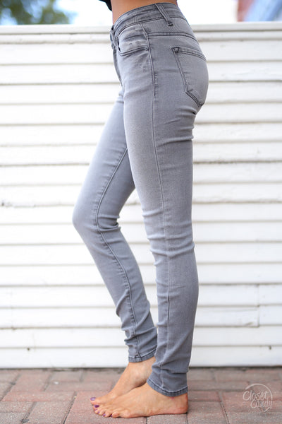 KAN CAN Once In A Lifetime Jeans - Grey skinny jeans, Closet Candy Boutique 3