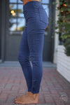 Need For Speed Moto Pants - Navy ribbed moto pants, Closet Candy Boutique 7