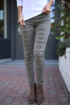 Dangerous Woman Distressed Pants - Olive women's distressed pants, Closet Candy Boutique 1