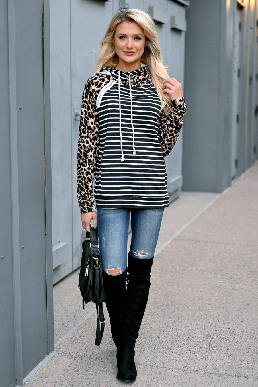 This Is So You Double Hoodie - Leopard & Stripes womens trendy long sleeve double hood pullover long sleeve closet candy front