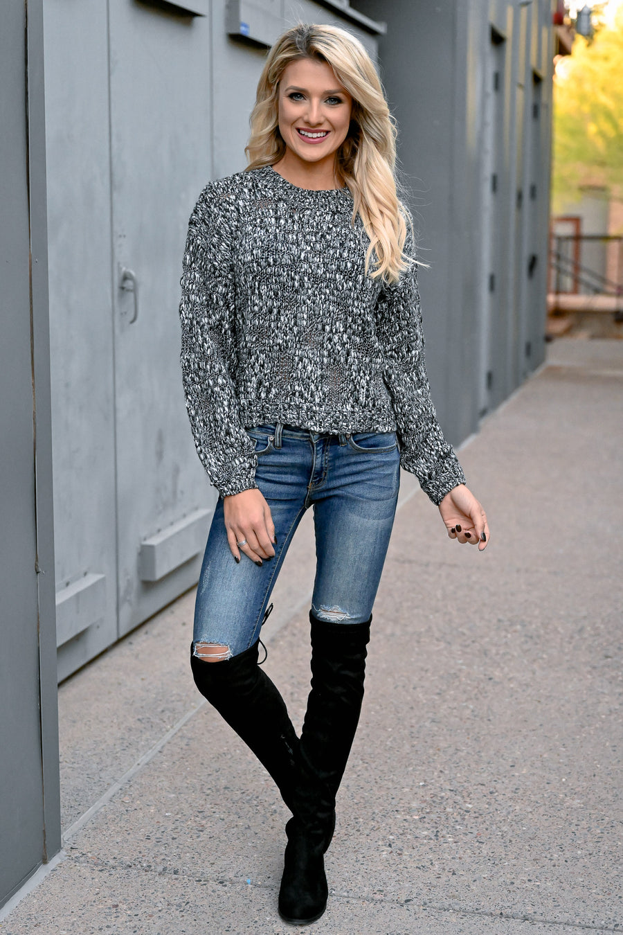 Tomorrow Will Come Knit Sweater - Black & White womens trendy long sleeve textured sweater closet candy front close