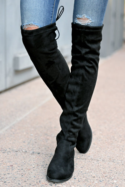 Gabby Over The Knee Boots - Black womens trendy tall boots with short heel closet candy front 2