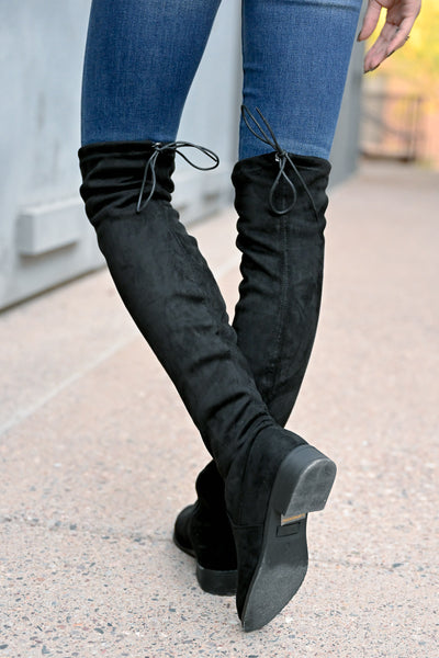 Gabby Over The Knee Boots - Black womens trendy tall boots with short heel closet candy back 2