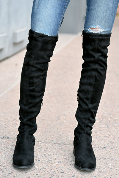 Gabby Over The Knee Boots - Black womens trendy tall boots with short heel closet candy front