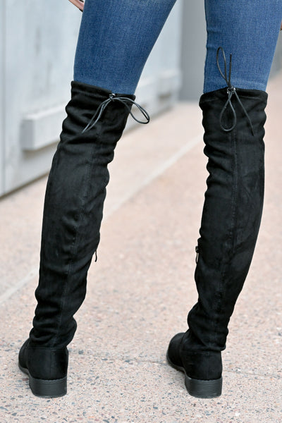 Gabby Over The Knee Boots - Black womens trendy tall boots with short heel closet candy back