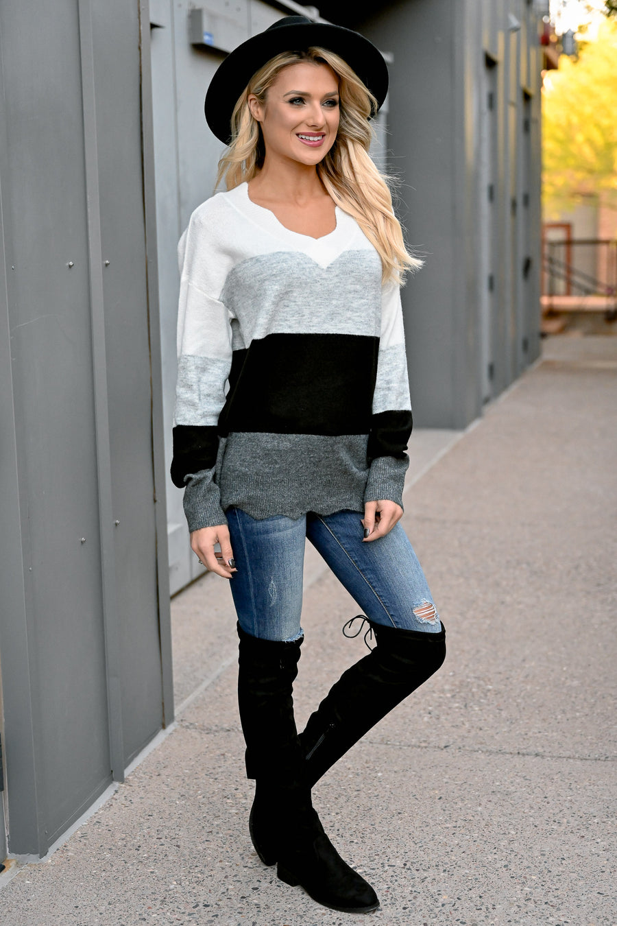 Too Much Spice Scallop V-Neck Top - Black & Grey womens trendy color block scallop detail long sleeve top closet candy front