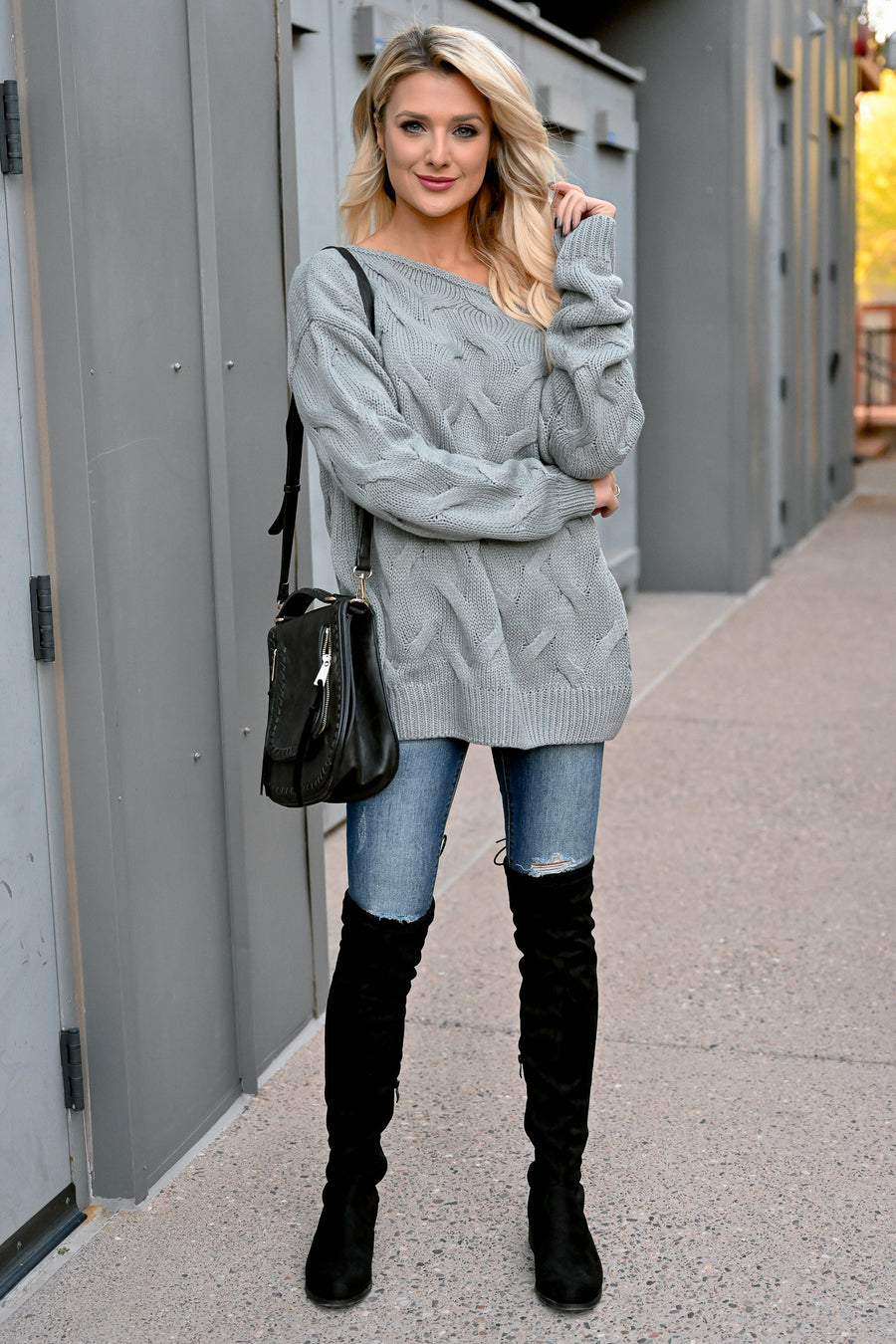 Cuddle Up Off The Shoulder Sweater - Grey womens cozy cable knit long sleeve ribbed drop shoulder sweater closet candy front