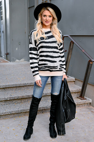 Show Your Stripes Sweater - Black & Ivory womens trendy zebra knit pullover long sleeve sweater closet candy front