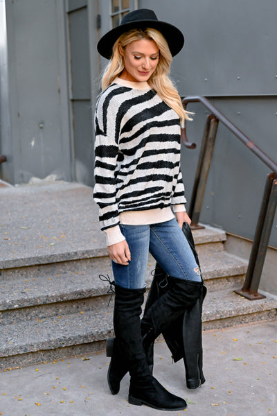 Show Your Stripes Sweater - Black & Ivory womens trendy zebra knit pullover long sleeve sweater closet candy side