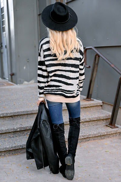 Show Your Stripes Sweater - Black & Ivory womens trendy zebra knit pullover long sleeve sweater closet candy back