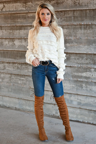 Fire Feels Fringe Sweater - Ivory womens fringe detail round neckline ribbed trim long sleeve closet candy front 2
