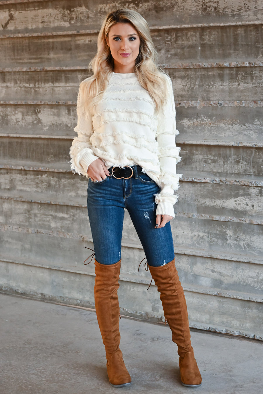 Fire Feels Fringe Sweater - Ivory womens fringe detail round neckline ribbed trim long sleeve closet candy front