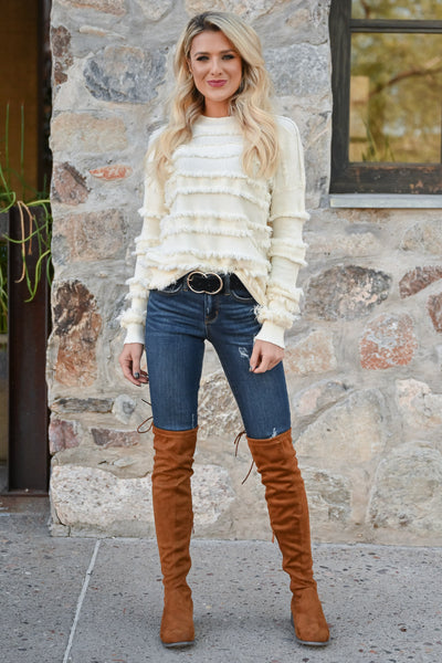 Fire Feels Fringe Sweater - Ivory womens fringe detail round neckline ribbed trim long sleeve closet candy front 4