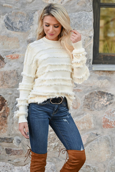 Fire Feels Fringe Sweater - Ivory womens fringe detail round neckline ribbed trim long sleeve closet candy front 3