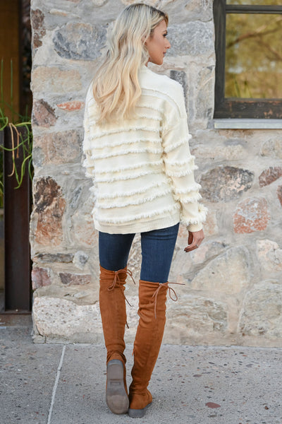 Fire Feels Fringe Sweater - Ivory womens fringe detail round neckline ribbed trim long sleeve closet candy back
