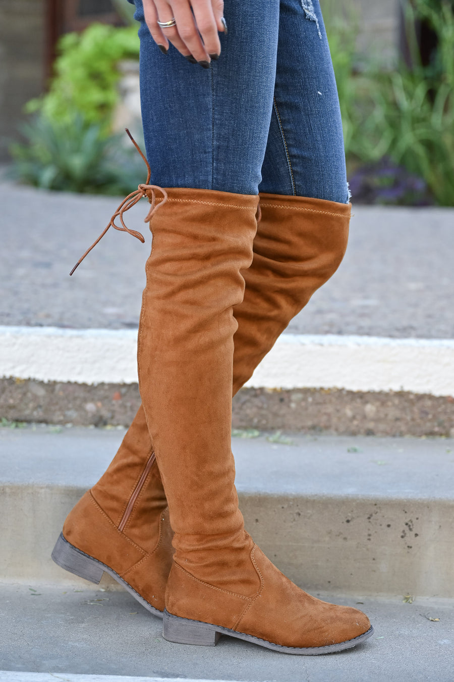 Gabby Over The Knee Boots - Camel womens trendy tall boots short heel partial zipper closet candy front