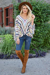 Anywhere You Are Striped Top - Multi womens trendy tie sleeve multi striped long sleeve top closet candy front