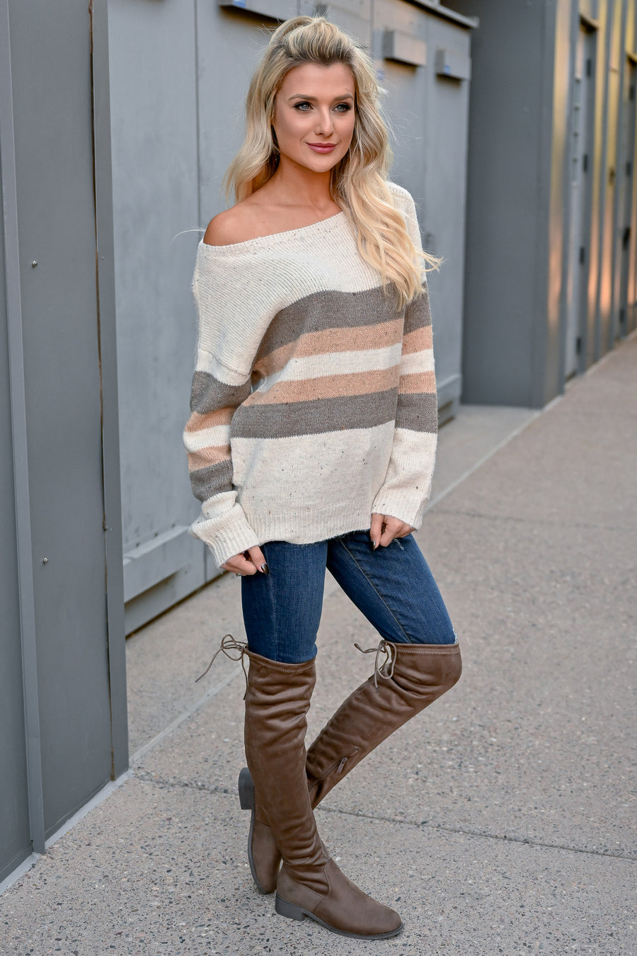 Good To Go Striped Sweater - Ivory womens trendy off the shoulder long sleeve striped sweater closet candy close