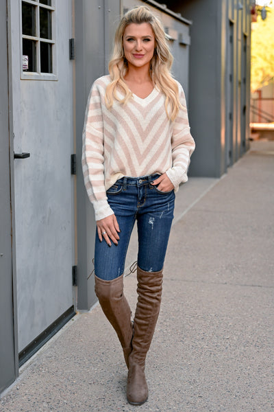 So Close Chevron Sweater - Taupe womens knit pullover v-neck, long sleeve sweater closet candy front 2