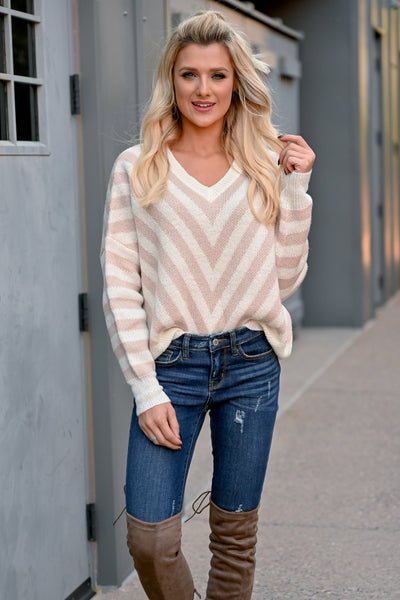 So Close Chevron Sweater - Taupe womens knit pullover v-neck, long sleeve sweater closet candy front