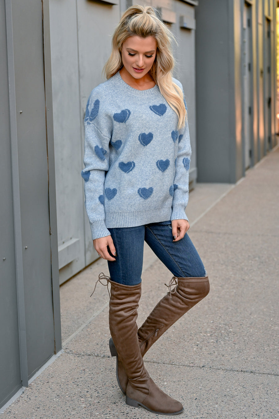 I Heart You Sweater - Blue womens trendy long sleeve heart pattern sweater closet candy front