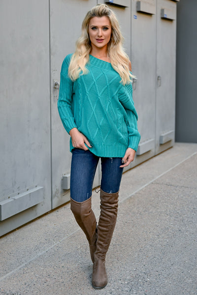 Fly Somewhere Off The Shoulder Sweater - Teal womens trendy textured knit long sleeve sweater closet candy front