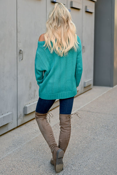 Fly Somewhere Off The Shoulder Sweater - Teal womens trendy textured knit long sleeve sweater closet candy back