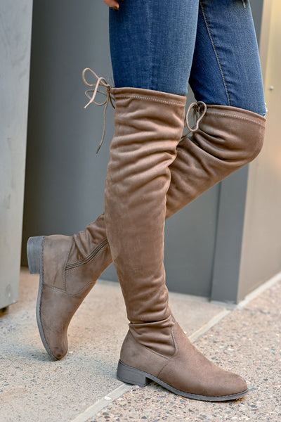 Gabby Over The Knee Boots - Taupe womens trendy vegan suede tall boots closet candy side