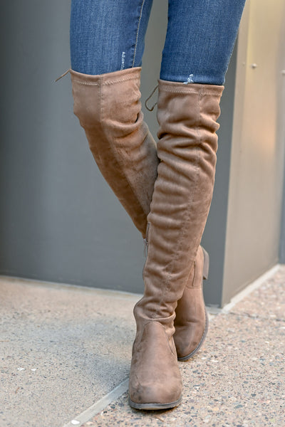 Gabby Over The Knee Boots - Taupe womens trendy vegan suede tall boots closet candy front