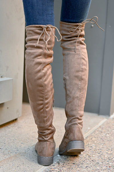 Gabby Over The Knee Boots - Taupe womens trendy vegan suede tall boots closet candy back
