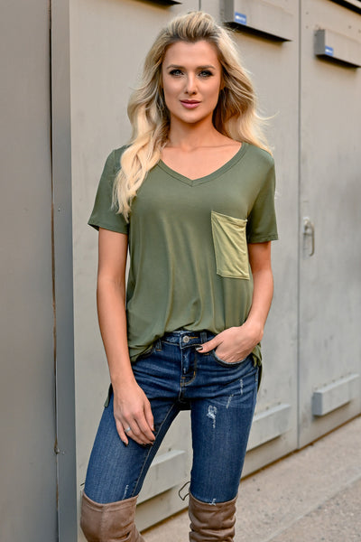 Something To Do Top - Olive womens trendy short sleeve pocket tee closet candy front