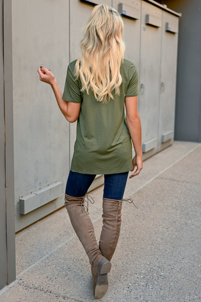 Something To Do Top - Olive womens trendy short sleeve pocket tee closet candy back