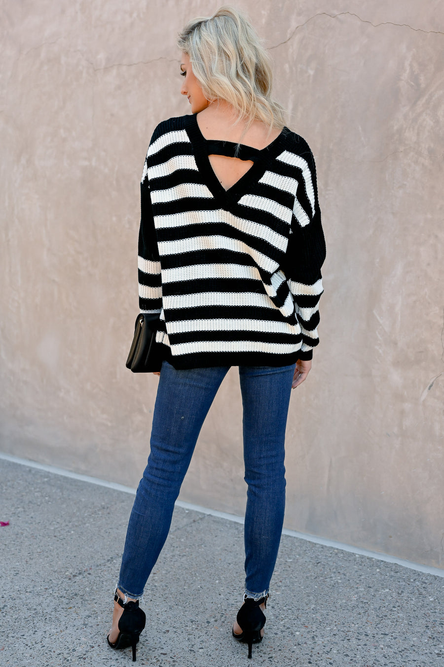 Something To Believe In Sweater - Black & Ivory womens trendy striped v-neck long sleeve closet candy front