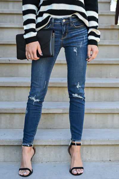JUDY BLUE Delanie Distressed Skinntresy Jeans - Dark Wash womens trendy dark wash mid-rise distressed jeans closet candy front