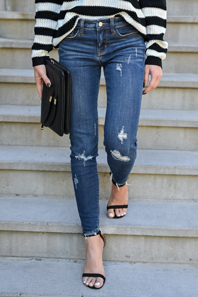 JUDY BLUE Delanie Distressed Skinntresy Jeans - Dark Wash womens trendy dark wash mid-rise distressed jeans closet candy front 2