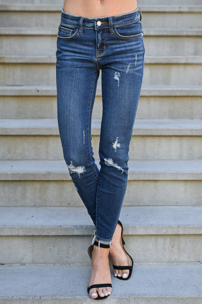 JUDY BLUE Delanie Distressed Skinntresy Jeans - Dark Wash womens trendy dark wash mid-rise distressed jeans closet candy front 3