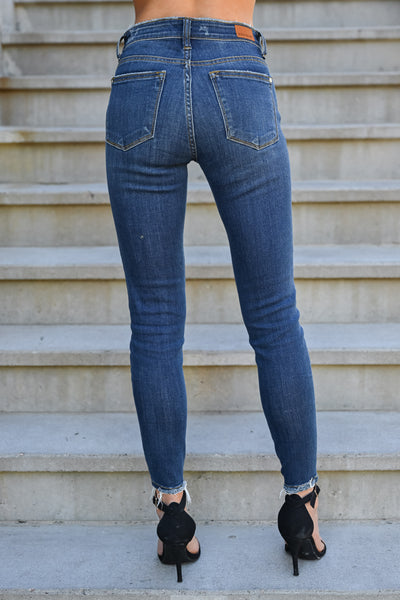 JUDY BLUE Delanie Distressed Skinntresy Jeans - Dark Wash womens trendy dark wash mid-rise distressed jeans closet candy back