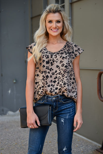 Run The World Leopard Top - Taupe womens trendy sleeveless v-neck ruffle detail top closet candy close