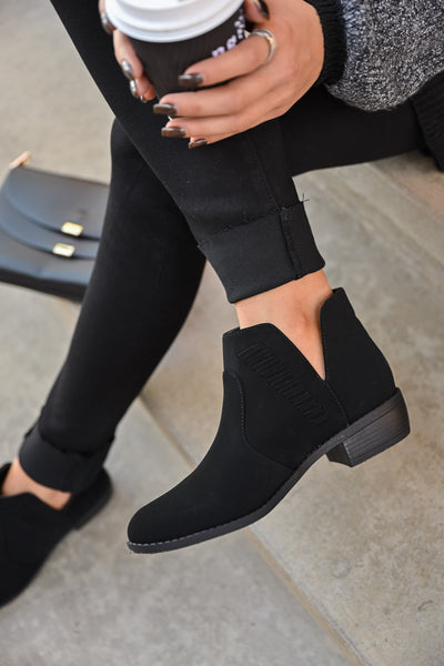 Kelsey Slip On Booties - Black womens trendy short vegan suede detailed black bootie closet candy top