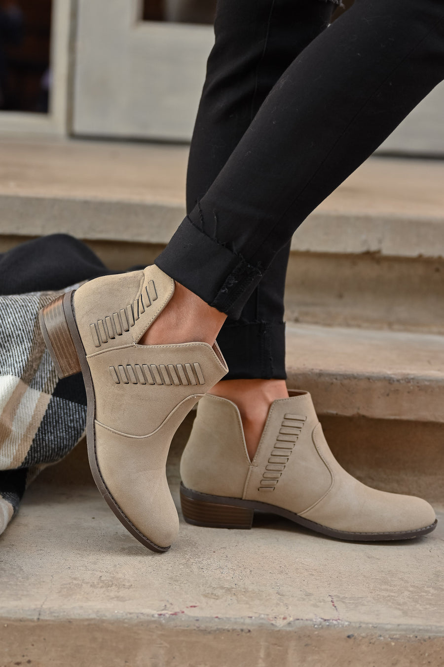 Kelsey Slip On Booties - stone womens trendy woven detail slip on stone bootie closet candy 1