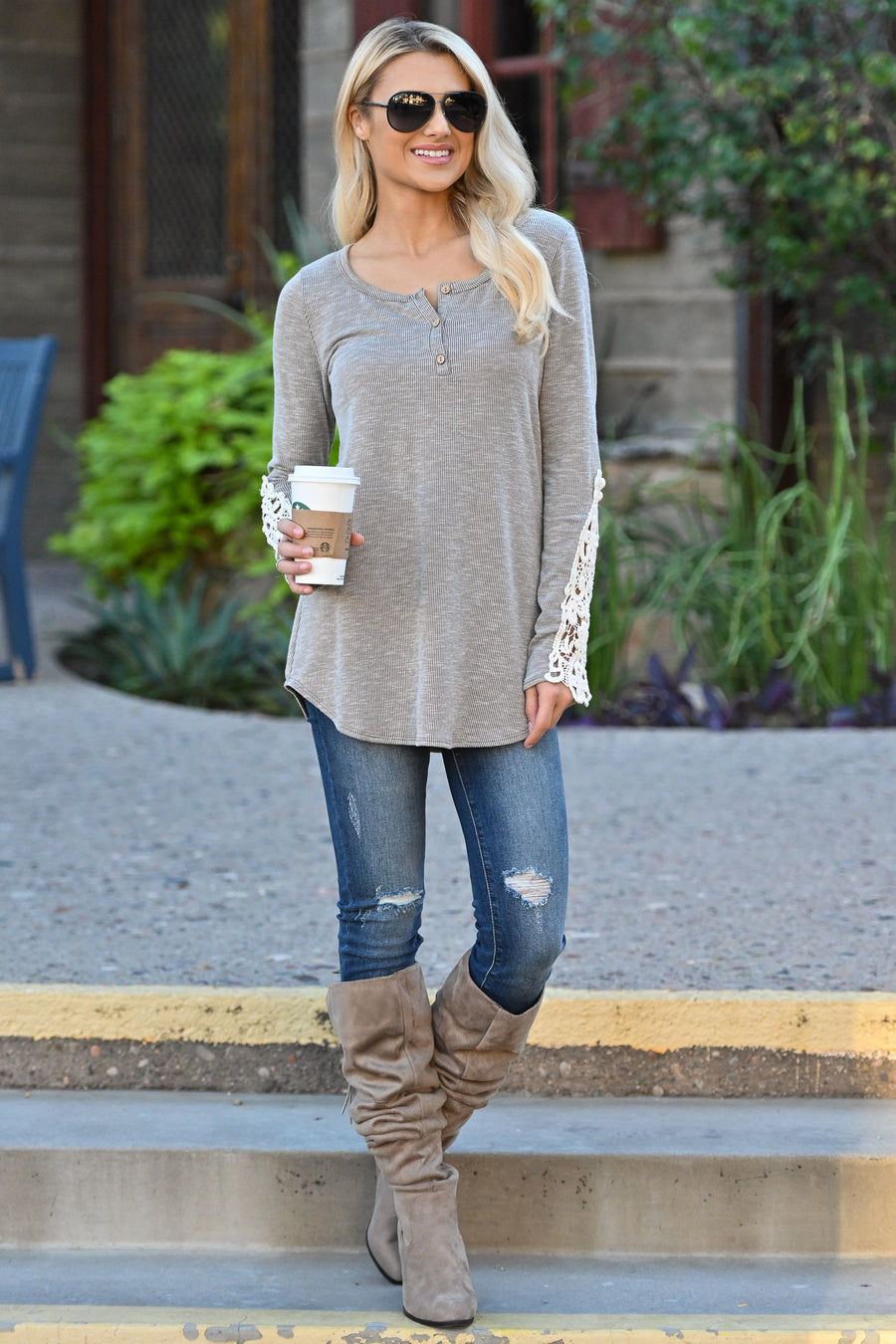 Just What I Need Knit Top - Taupe women's long sleeve ribbed top with crochet detail on sleeve, closet candy boutique 2