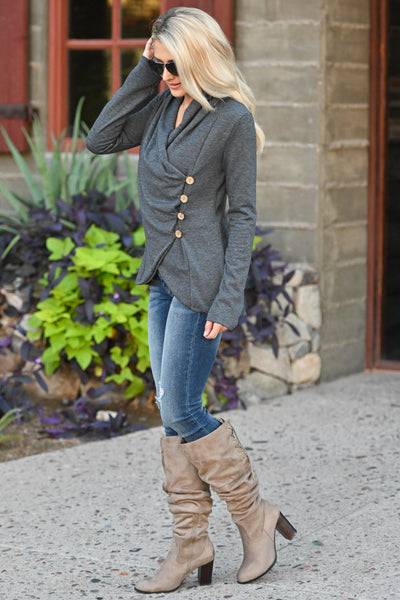 Stop Time Sweater - Charcoal wrap sweater, cute fall outfit, Closet Candy Boutique 2