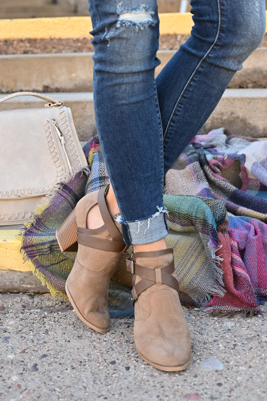 Dixie Booties - Taupe vegan suede strappy booties, closet candy boutique 1