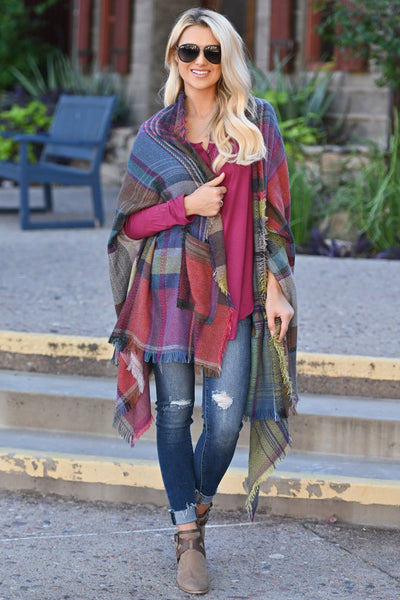 Brilliantly Bold Plaid Poncho colorful plaid poncho, closet candy boutique 3