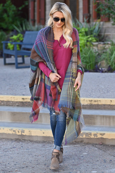 Brilliantly Bold Plaid Poncho colorful plaid poncho, closet candy boutique 1