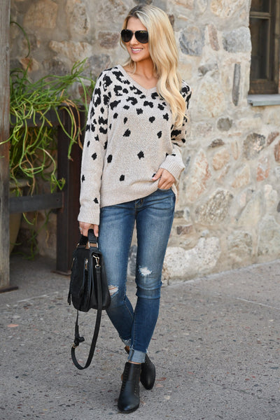 Runnin' Around Town Leopard Sweater - Oatmeal color women's animal print sweater top, closet candy boutique 1