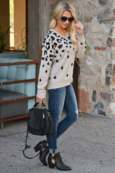 Runnin' Around Town Leopard Sweater - Oatmeal color women's animal print sweater top, closet candy boutique 3