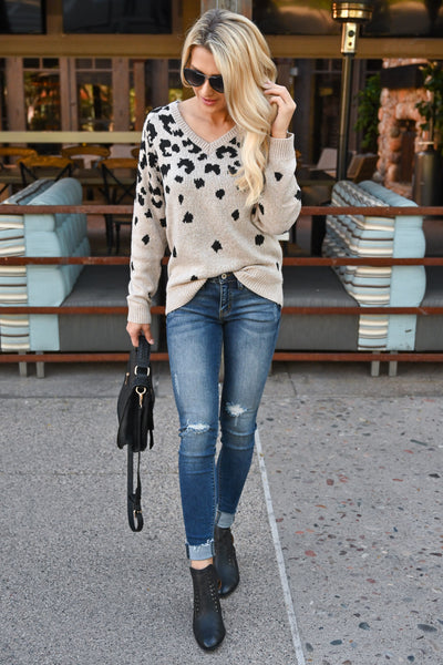 Runnin' Around Town Leopard Sweater - Oatmeal color women's animal print sweater top, closet candy boutique 2