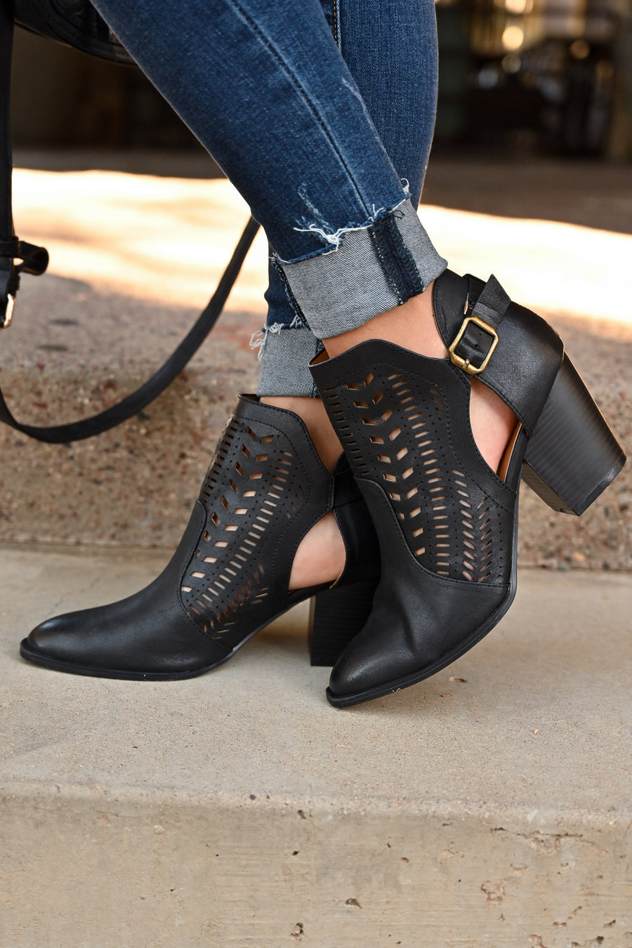 Becca Booties - Black cutout buckle booties closet candy boutique 1